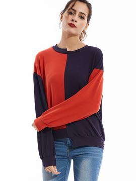 Ericdress Round Neck Drop-Shoulder Sleeves Color Block Hoodie