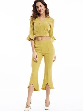 Ericdress Solid Color Falbala Sleeve Pants Suit