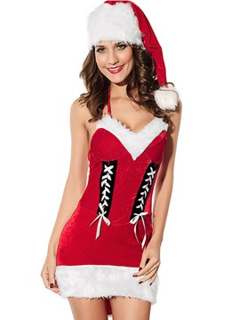 Ericdress Sexy Backless Halter Santa Cosplay Christmas Costume