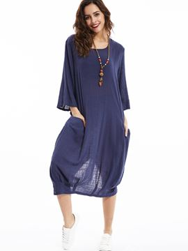Ericdress Loose Round Neck Day Dress With Two Pockets Casual Dress