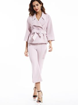 Ericdress Notched Lapel Coat Pants Suit