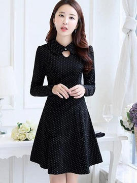 Ericdress Cowl-Neck Hole Polka Dots Pleated Casual Dress