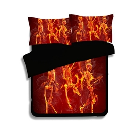 Dancing Fiery Skeletons Print 4-Piece Polyester Duvet Cover Sets