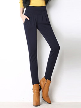 Ericdress Pleated High-Waist Slim Harem Pants