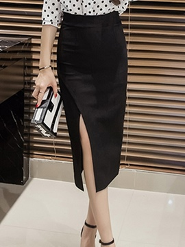 Ericdress Solid Color High-Waist Asymmetric Skirt