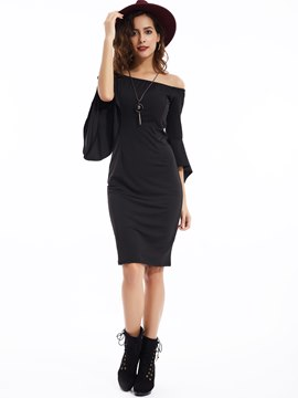 Ericdress Slash Neck Ruffle Sleeves Bodycon Dress