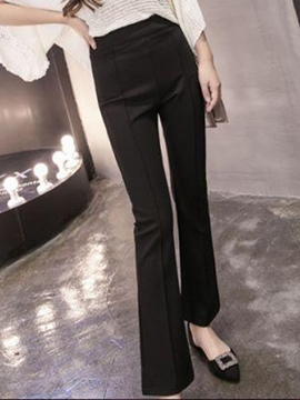 Ericdress High-Waist Thick Elastics Bellbottoms Pants
