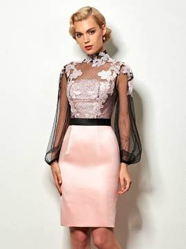 Ericdress Vintage High Neck Applique Short Cocktail Party Dress With Long Sleeve