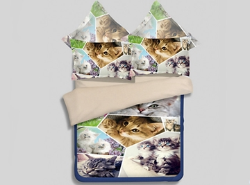 Pretty Cute Kitties Reactive Printing 4-Piece Polyester Duvet Cover Sets