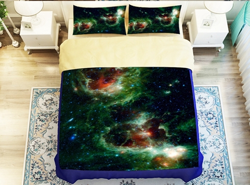Mysterious Green Galaxy Printed 4-Piece Polyester Duvet Cover Sets