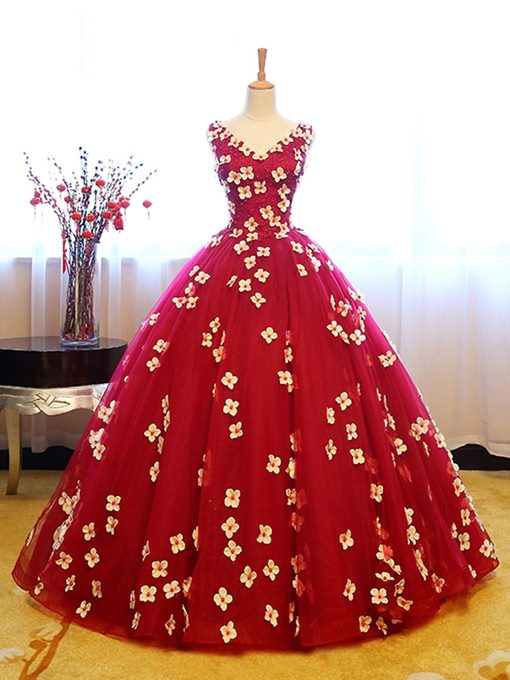 Ericdress Delicate V Neck Flower Lace-Up Back Foor Length Ball Quinceanera Dress