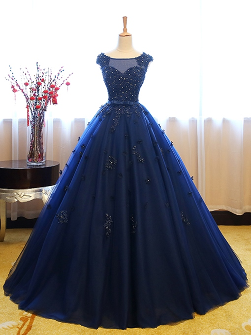 Ericdress Cap Sleeve Beaded Lace-Up Back Applique Ball Gown