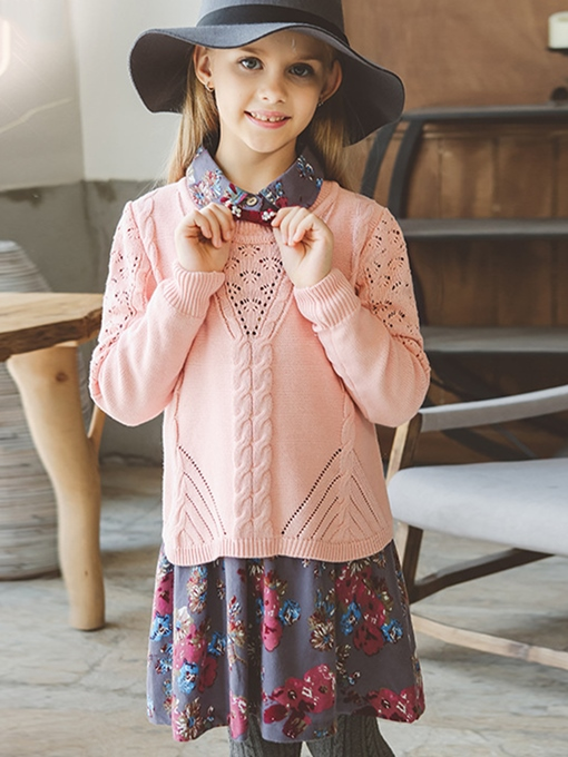 Ericdress Floral Dress Plain Sweater Girls Two-Piece Suit
