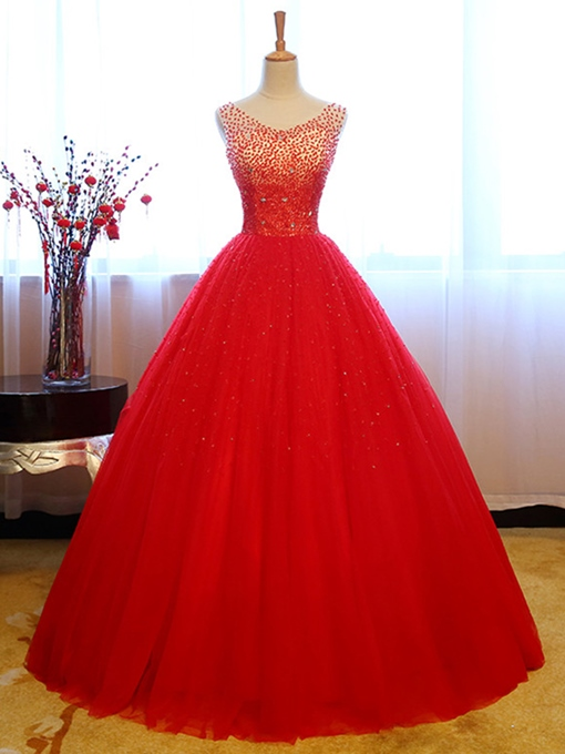 Ericdress Stunning V Neck Beaded Sequin Tulle Ball Quinceanera Dress