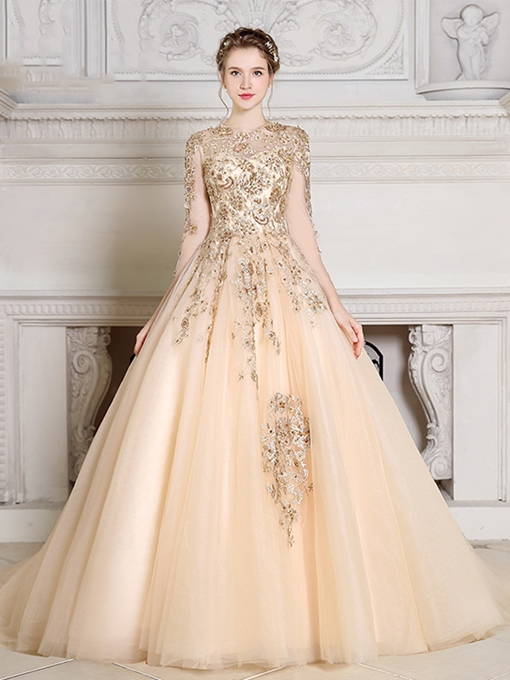 Ericdress Jewel Ball Gown Long Sleeves Appliques Beading Pearls Quinceanera Dress