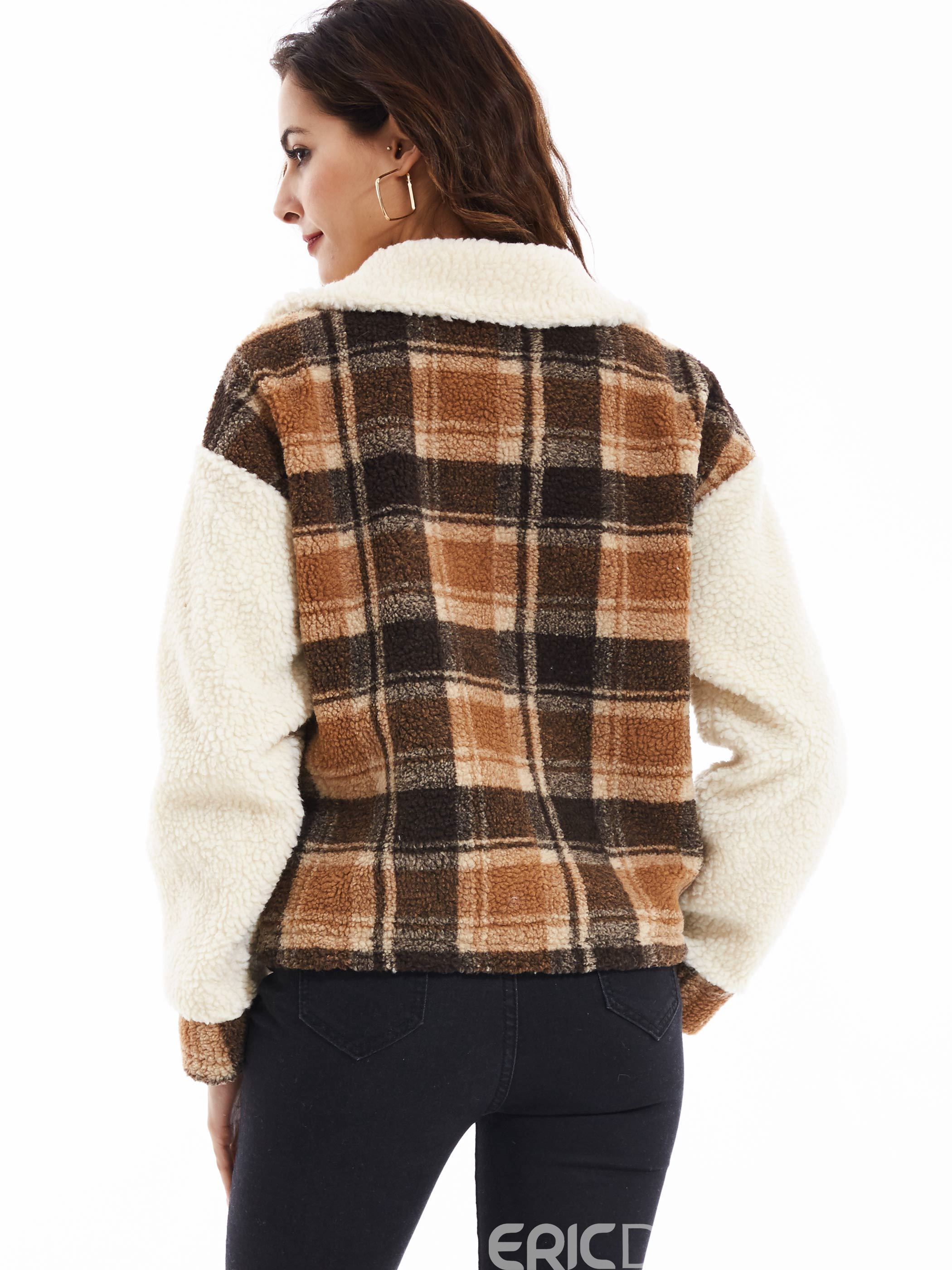 Ericdress Lapel Single-Breasted Plaid Jacket