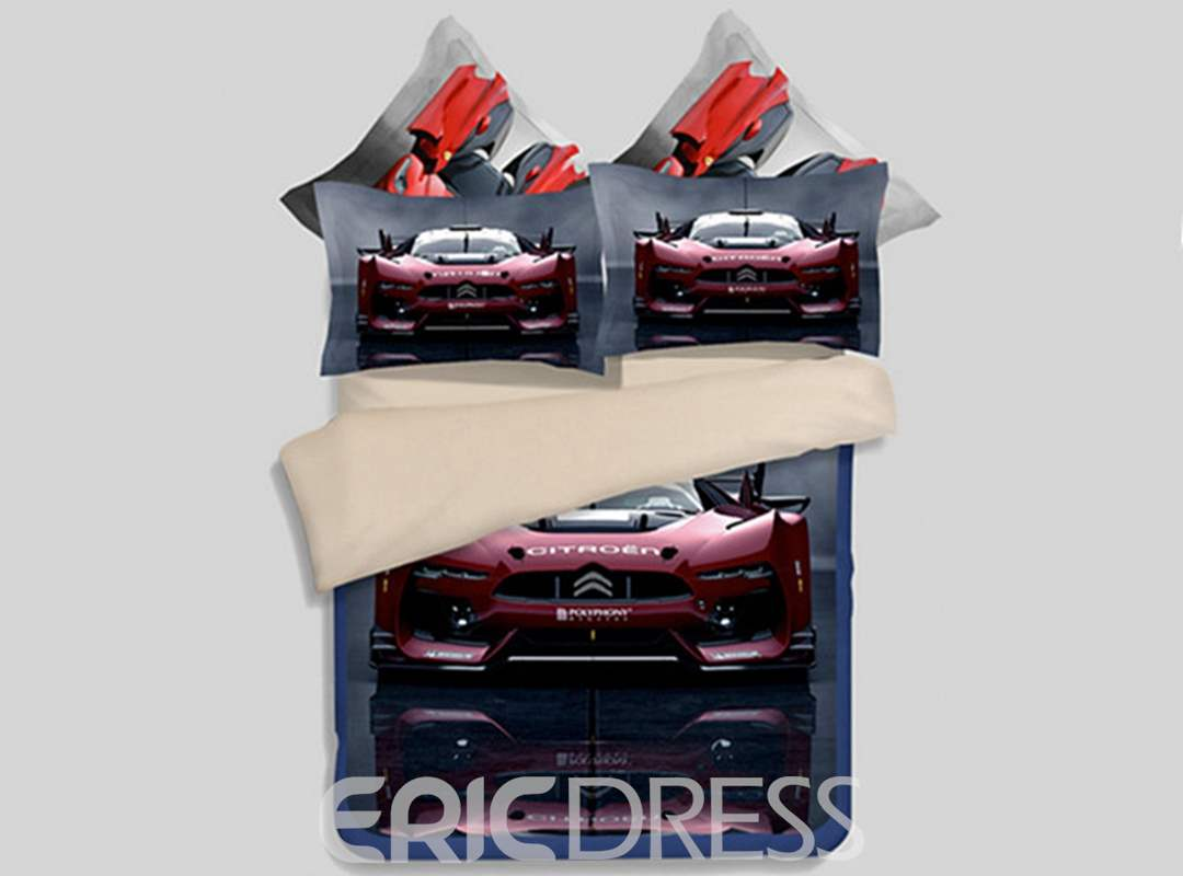 Chic Running Car Print 4-Piece Polyester Duvet Cover Sets
