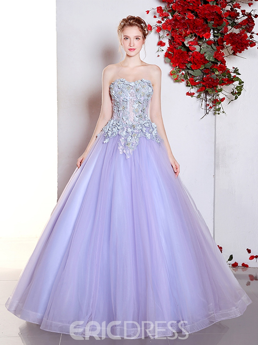 Ericdress Princess Sweetheart Ball Gown Appliques Lace Quinceanera Dress