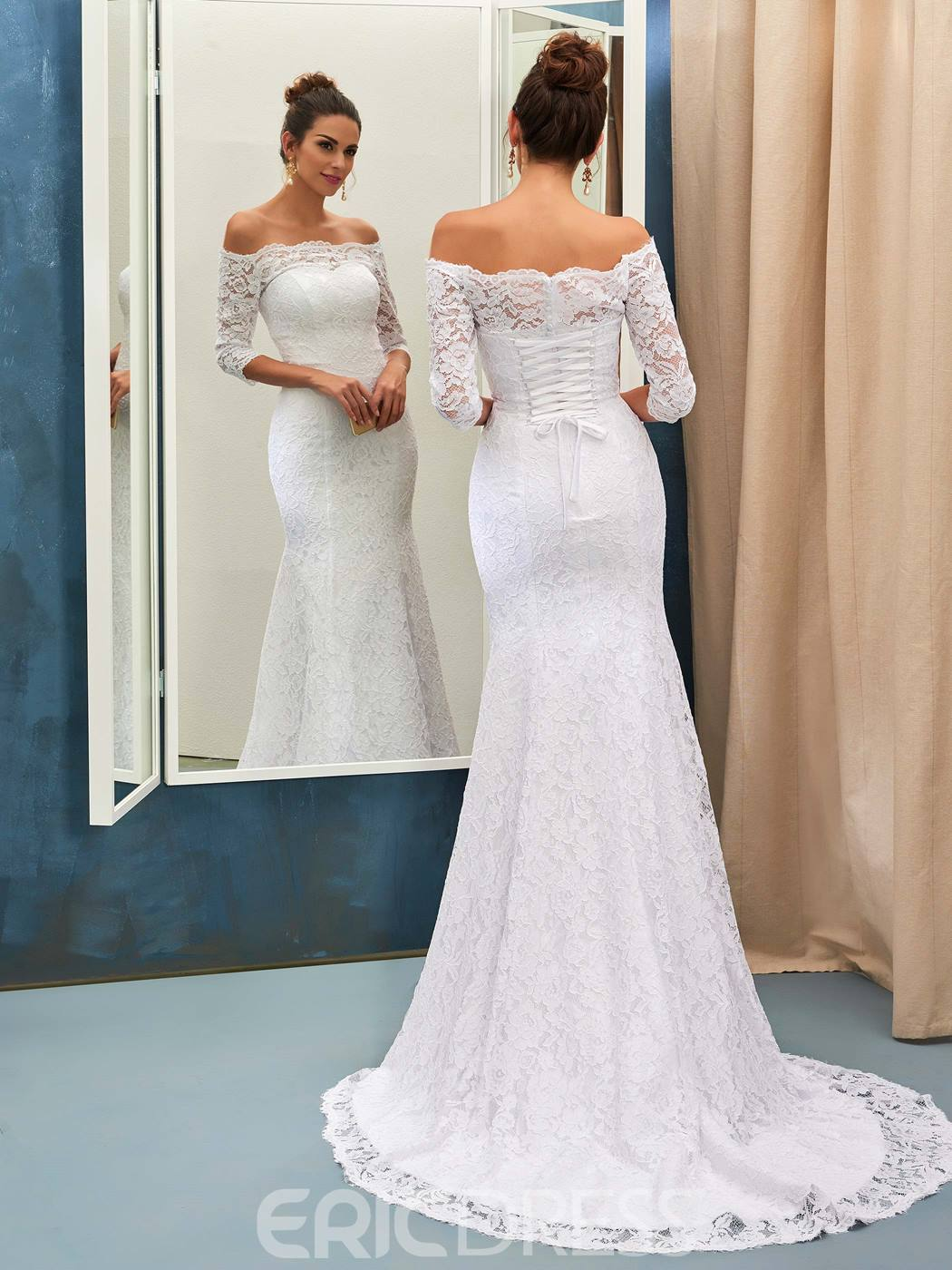 66521df900 Ericdress Lace Mermaid Off The Shoulder Wedding Dress With Sleeves