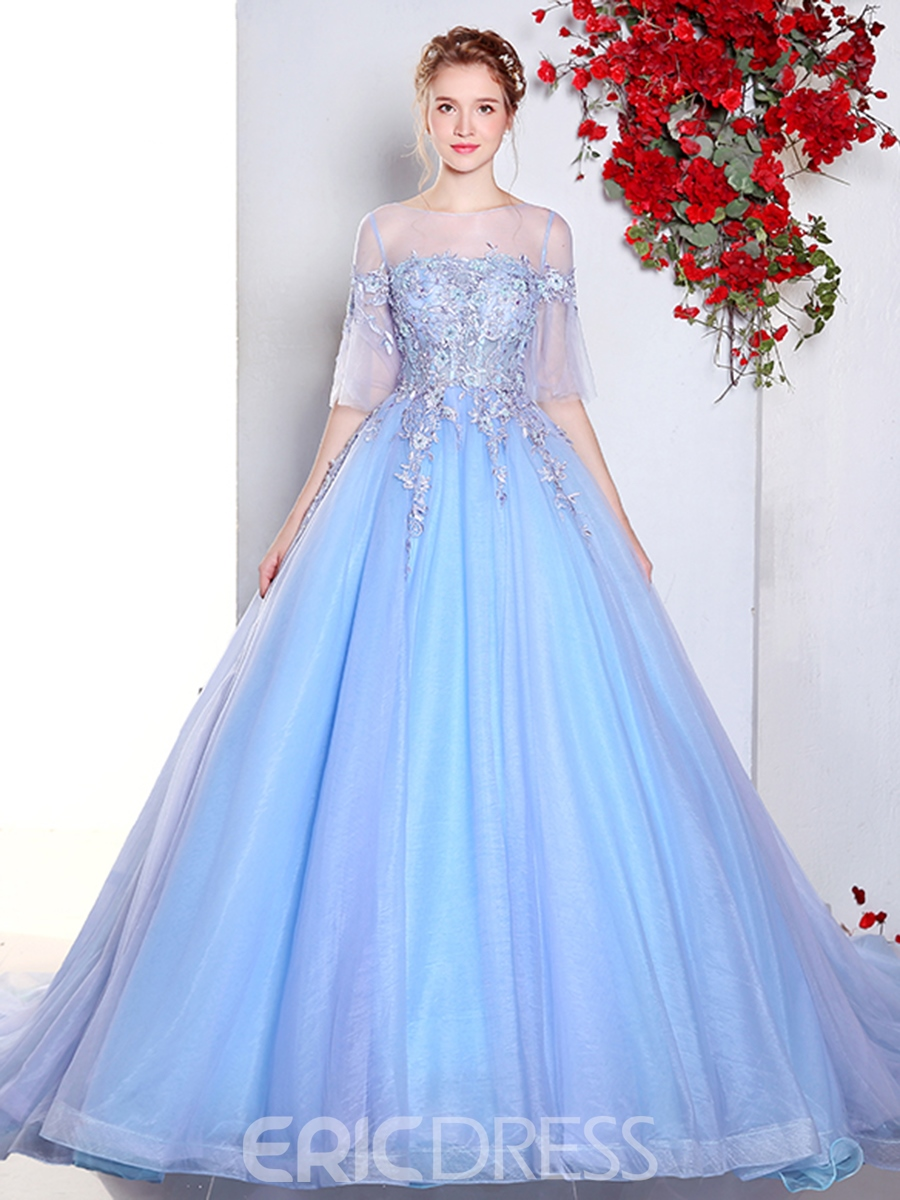 ERicdress Half Sleeves Ball Gown Appliques Beading Lace Quinceanera Dress