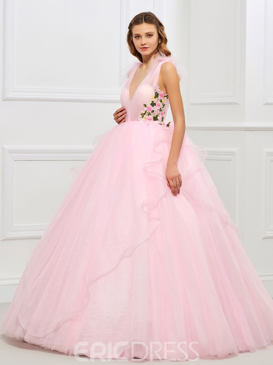 Ericdress Deep Neck Embroidery Applique Tulle Button Back Ball Quinceanera Gown