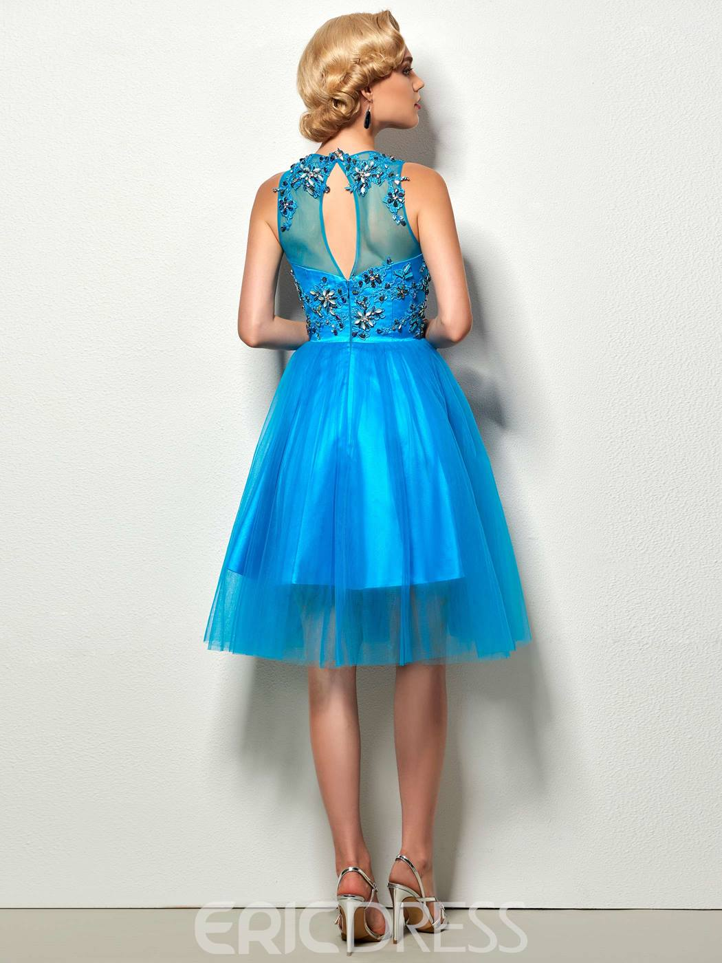 Ericdress A-Line Jewel Appliques Beading Hollow Short Cocktial Dress