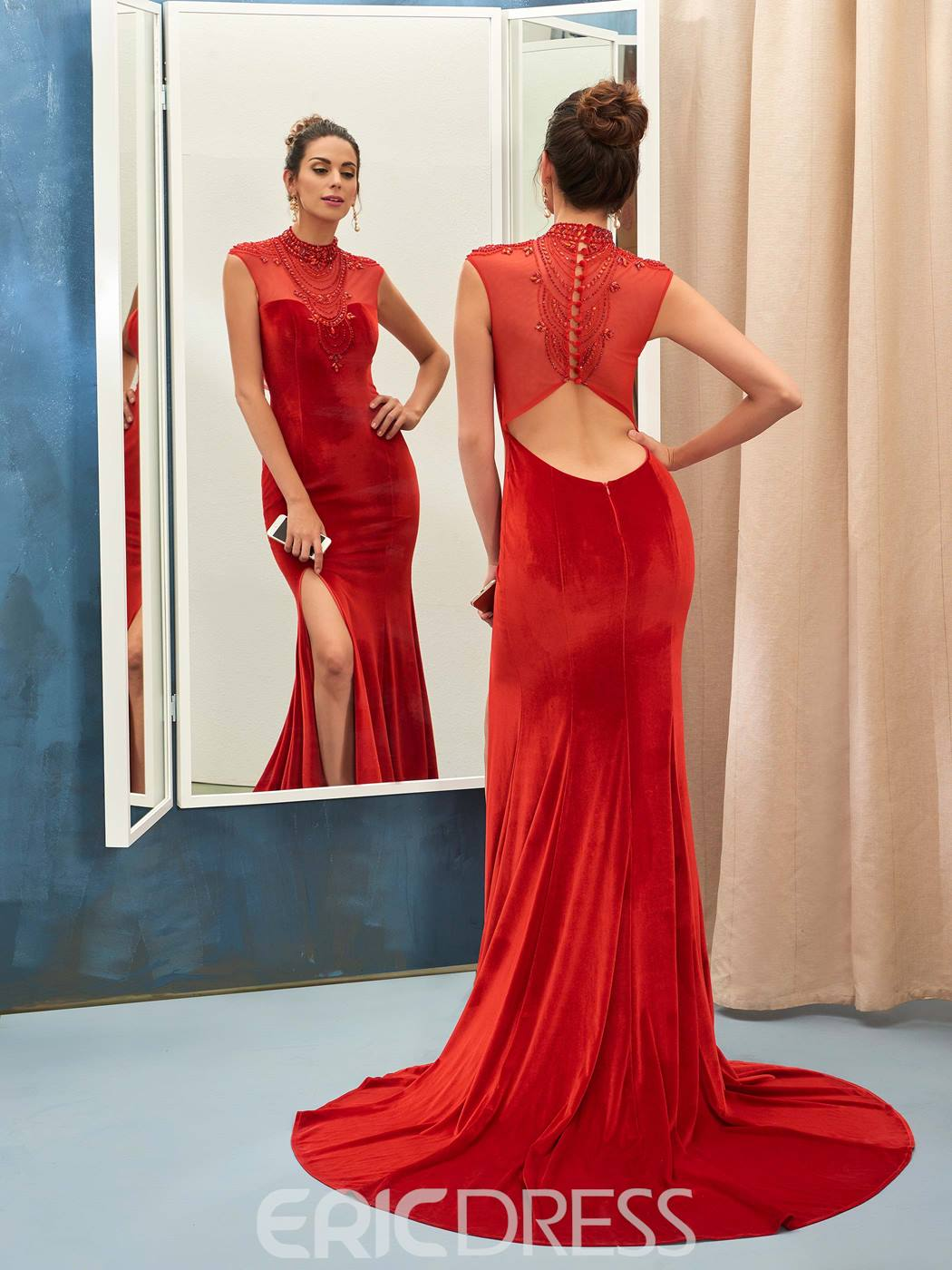 Ericdress Vintage High Neck Beaded Side Slit Mermaid Evening Dress