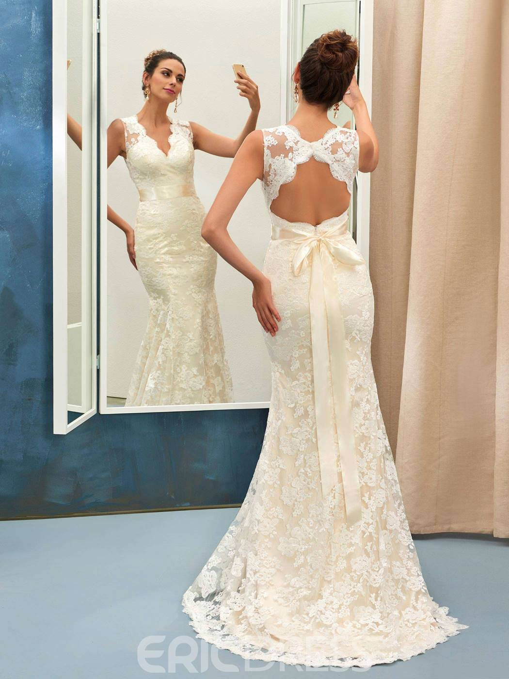 a4b539bd7e2 Ericdress Charming V Neck Backless Lace Mermaid Wedding Dress ...