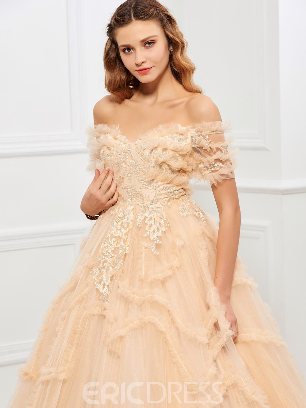 Ericdress Off-the-Shoulder Ball Gown Appliques Tiered Floor-Length Quinceanera Dress