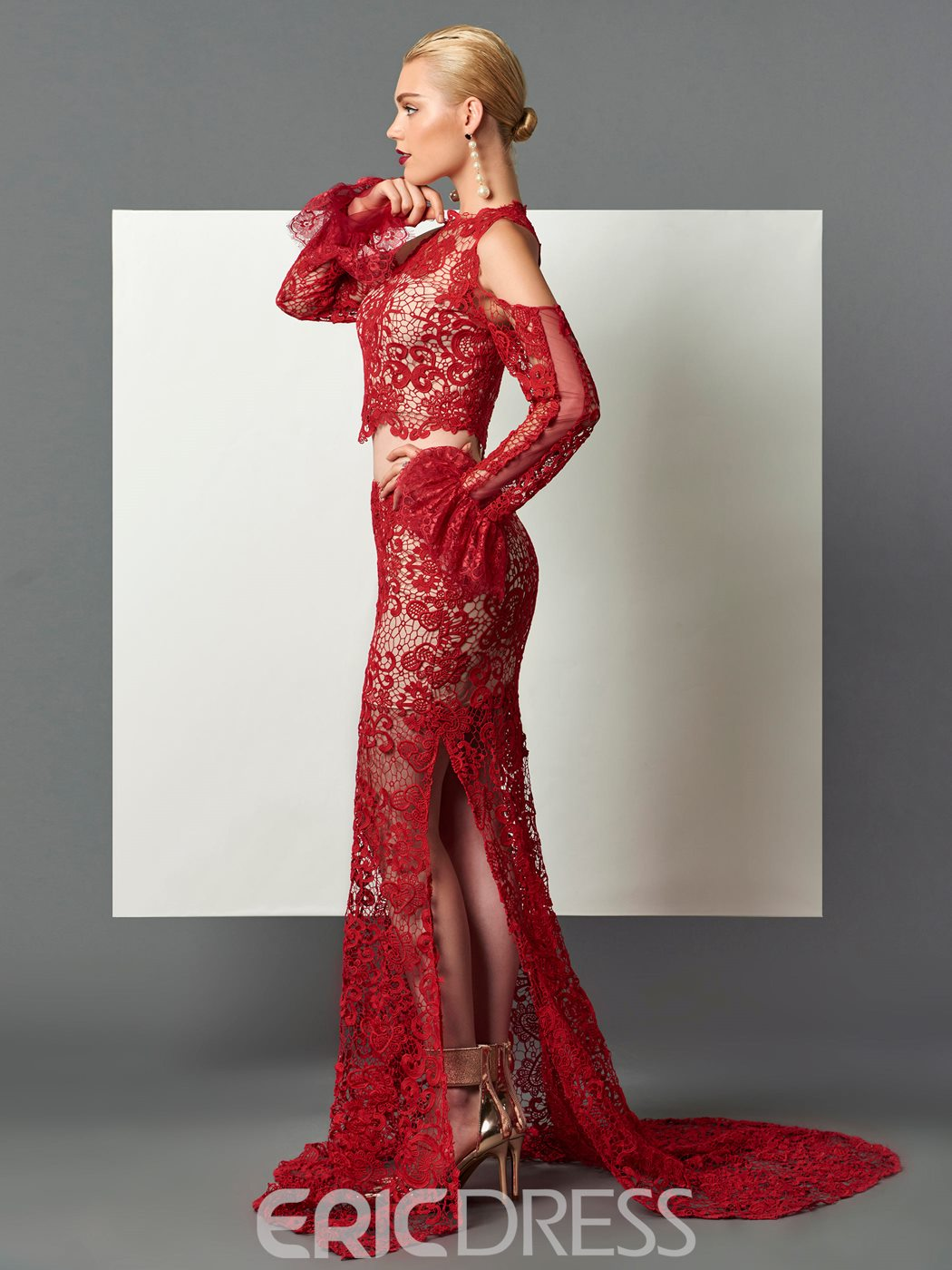 Ericdress Unique DesignSheath Long Sleeves Hollow Lace Sweep Train Evening Dress