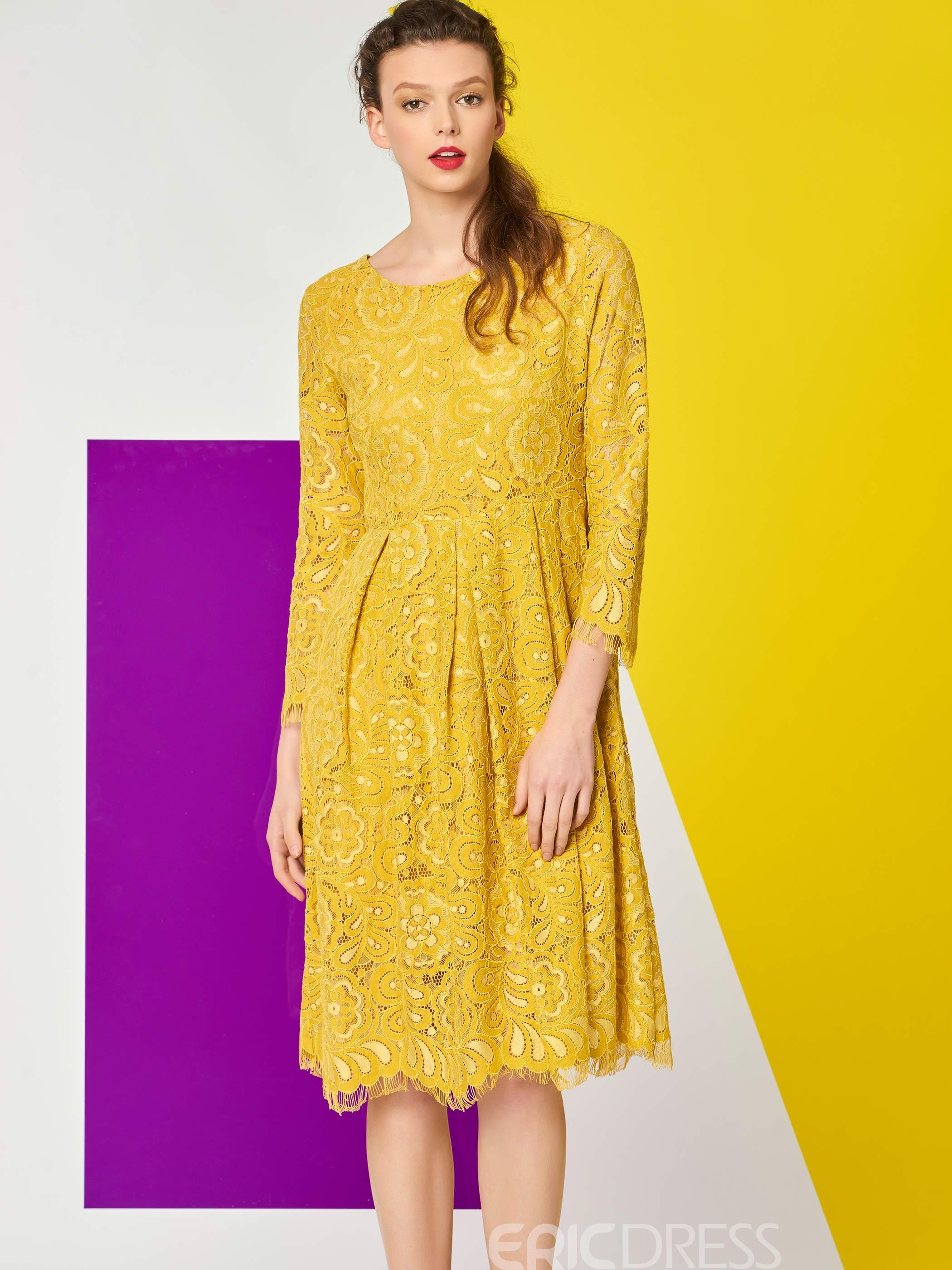 Ericdress Solid Color Pleated Nine Points Sleeve Lace Dress