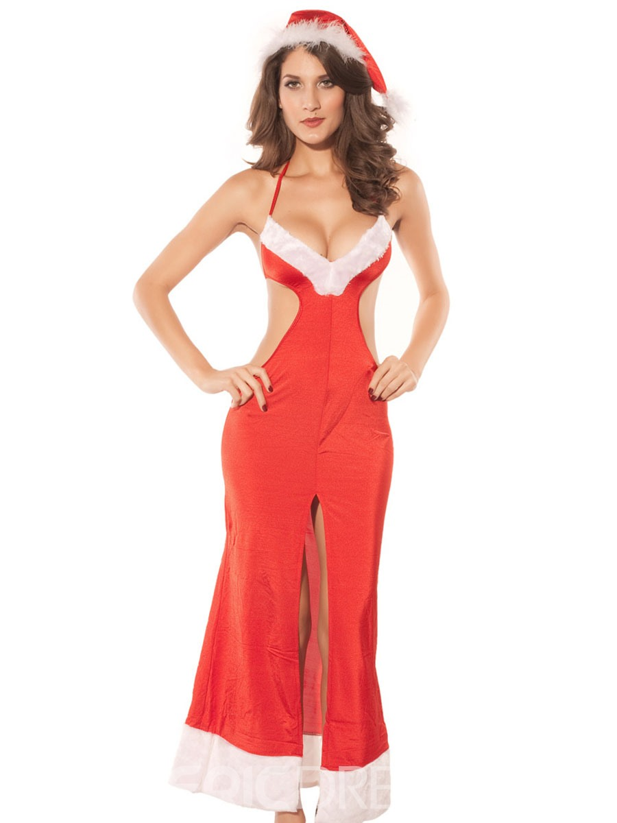 Ericdress Sexy Halter Backless Split-Front Christmas Costume