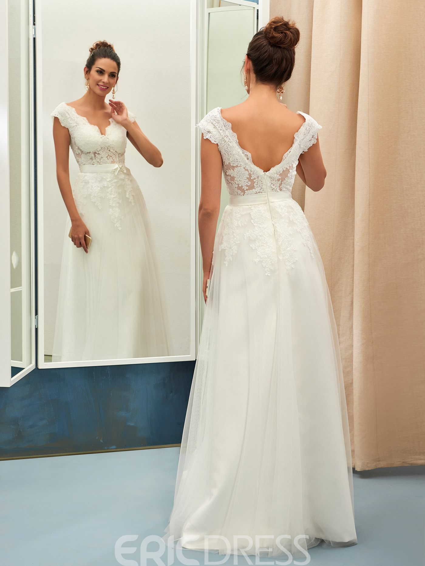 Ericdress Charming V Neck Appliques A Line Wedding Dress