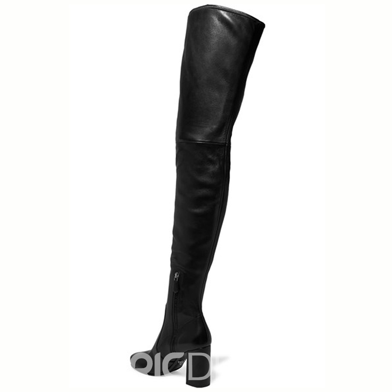 Ericdress Black Chunky Heel Over-the-Knee Boots
