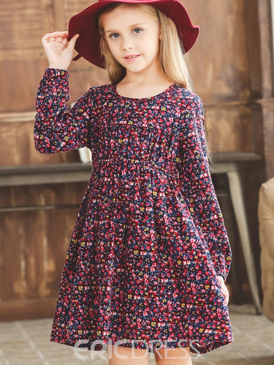 Ericdress Floral Print Thickening Girls Dress