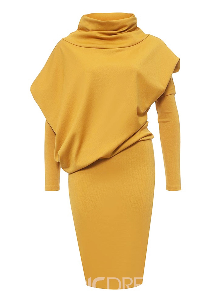 Ericdress Asymmetric Patchwork Turtleneck Bodycon Dress
