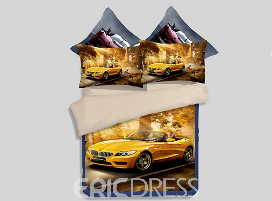 Vivilinen Yellow Running Car Print 4-Piece Polyester Duvet Cover Sets