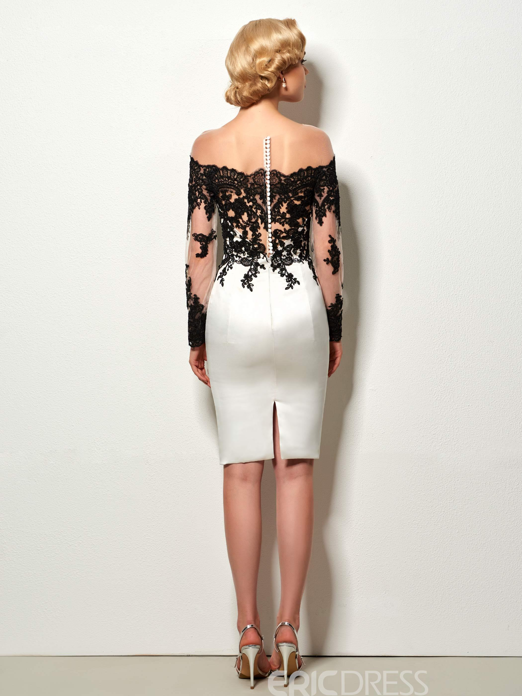 Ericdress Sexy Sheath Lace Applique Short Cocktail Dress With Long Sleeve