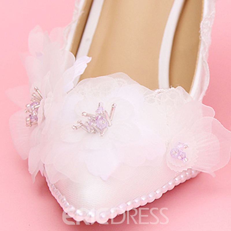 Ericdress Pretty White Ribbon Point Toe Wedding Shoes