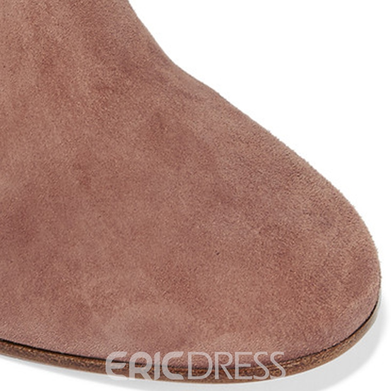 Ericdress Apricot Chunky Heel Over-the-Knee Boots