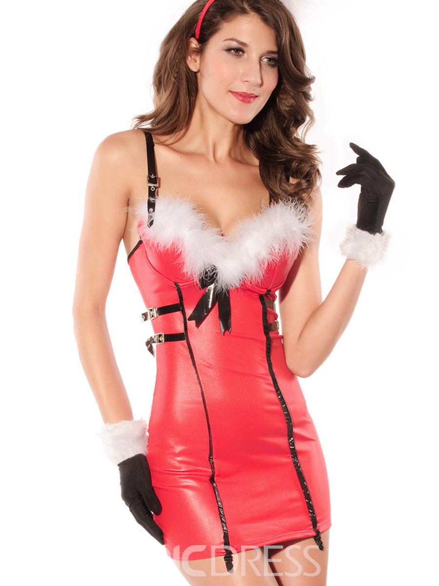 Ericdress Strapless V-Neck Bowknot Santa Cosplay Christmas Costume