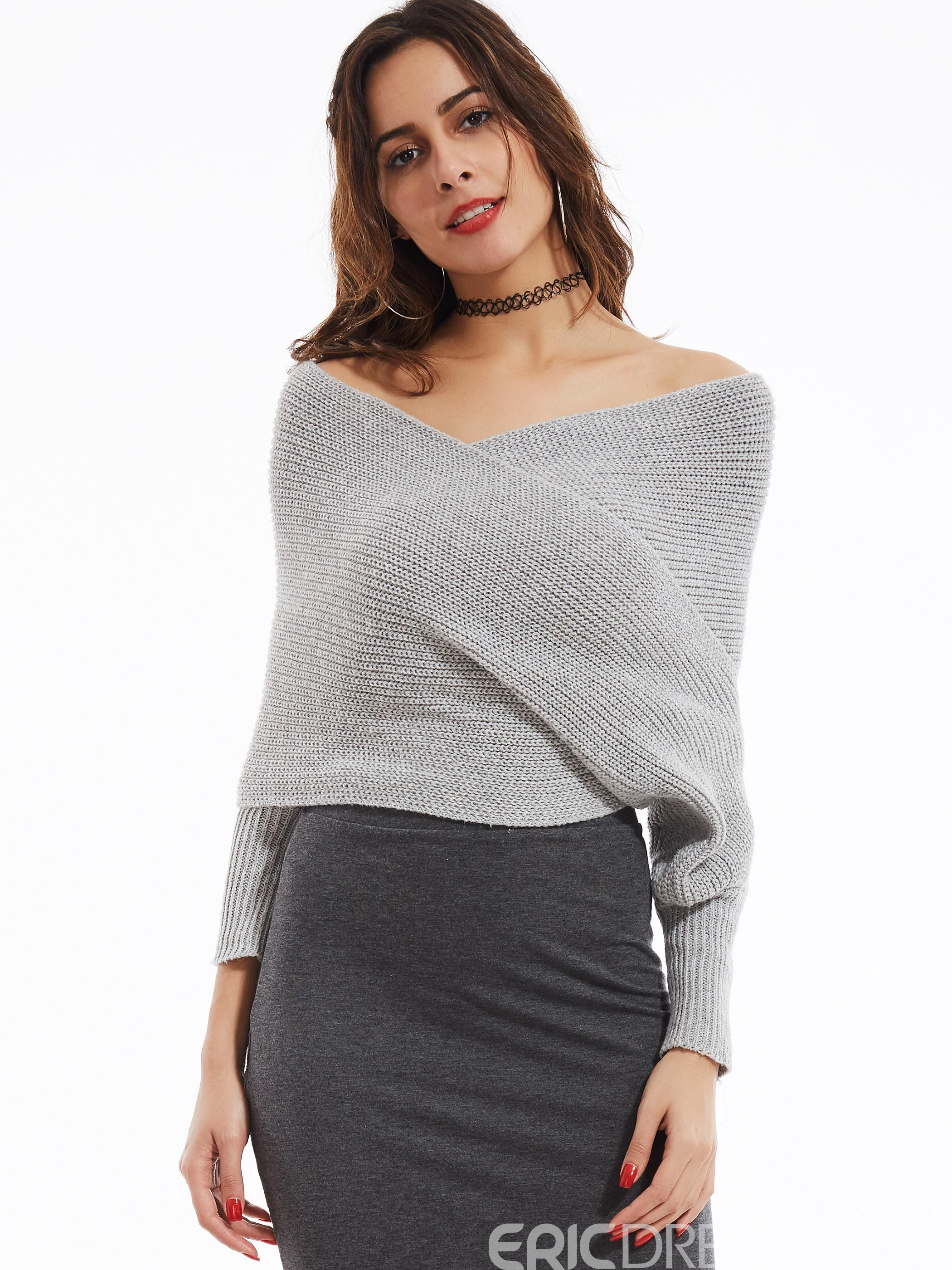 Ericdress V-neck Thick Plain Knitwear