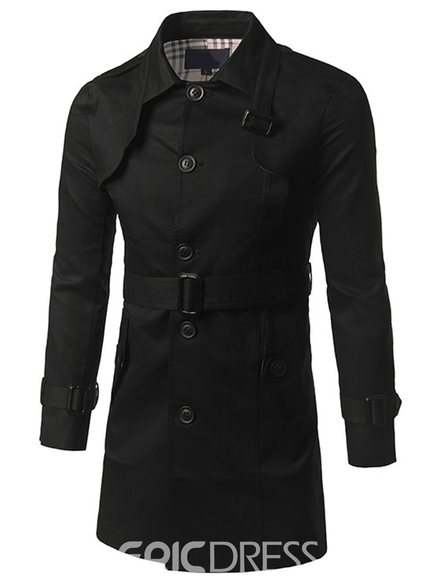Ericdress Lapel with Belt Mid-Length Vogue Slim Men's Trench Coat