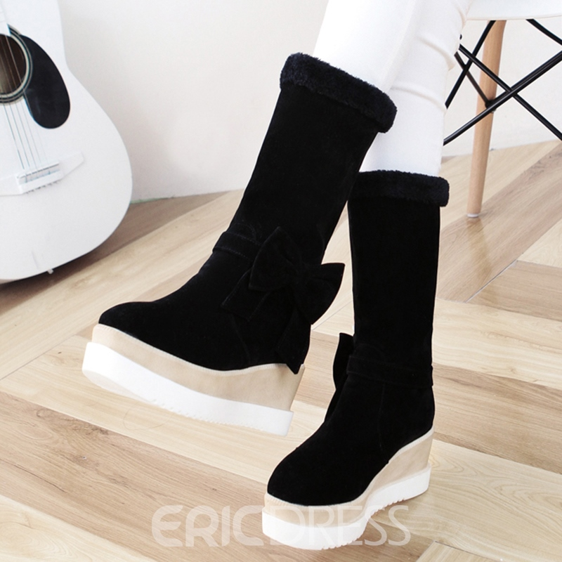 Ericdress Lovely Bowknot Elevator Heel Snow Boots