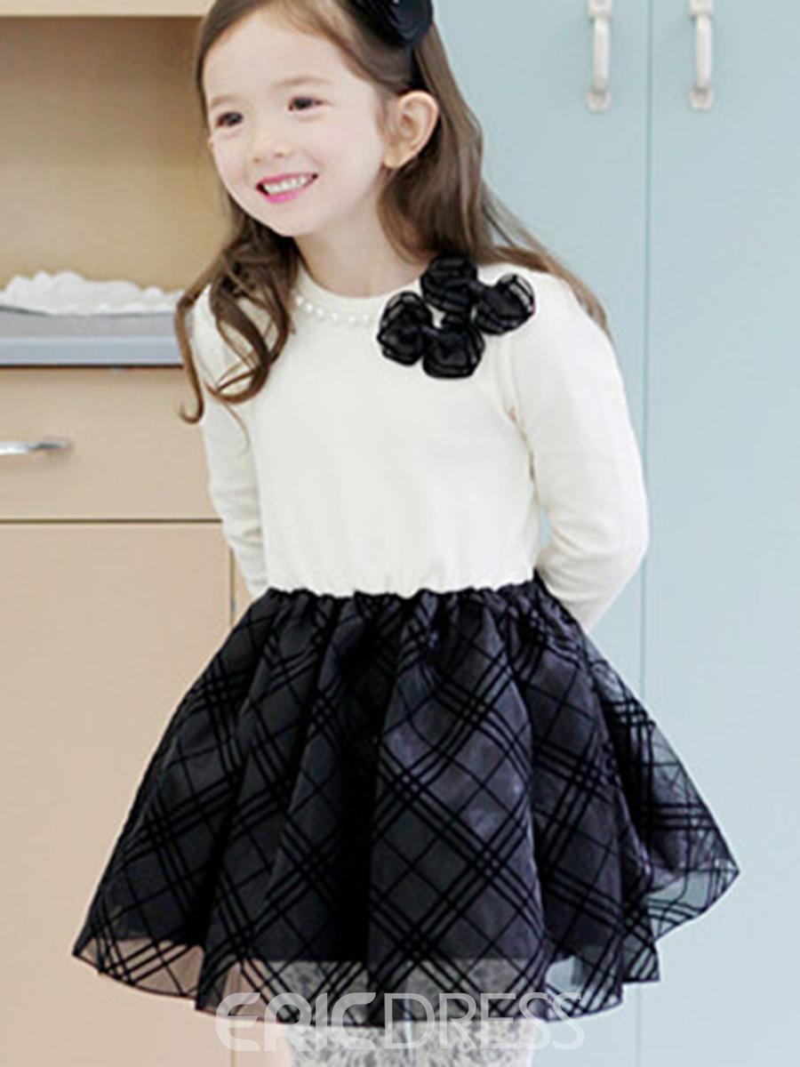 Ericdress Plaid Bow Bead Patchwork Girls Dress