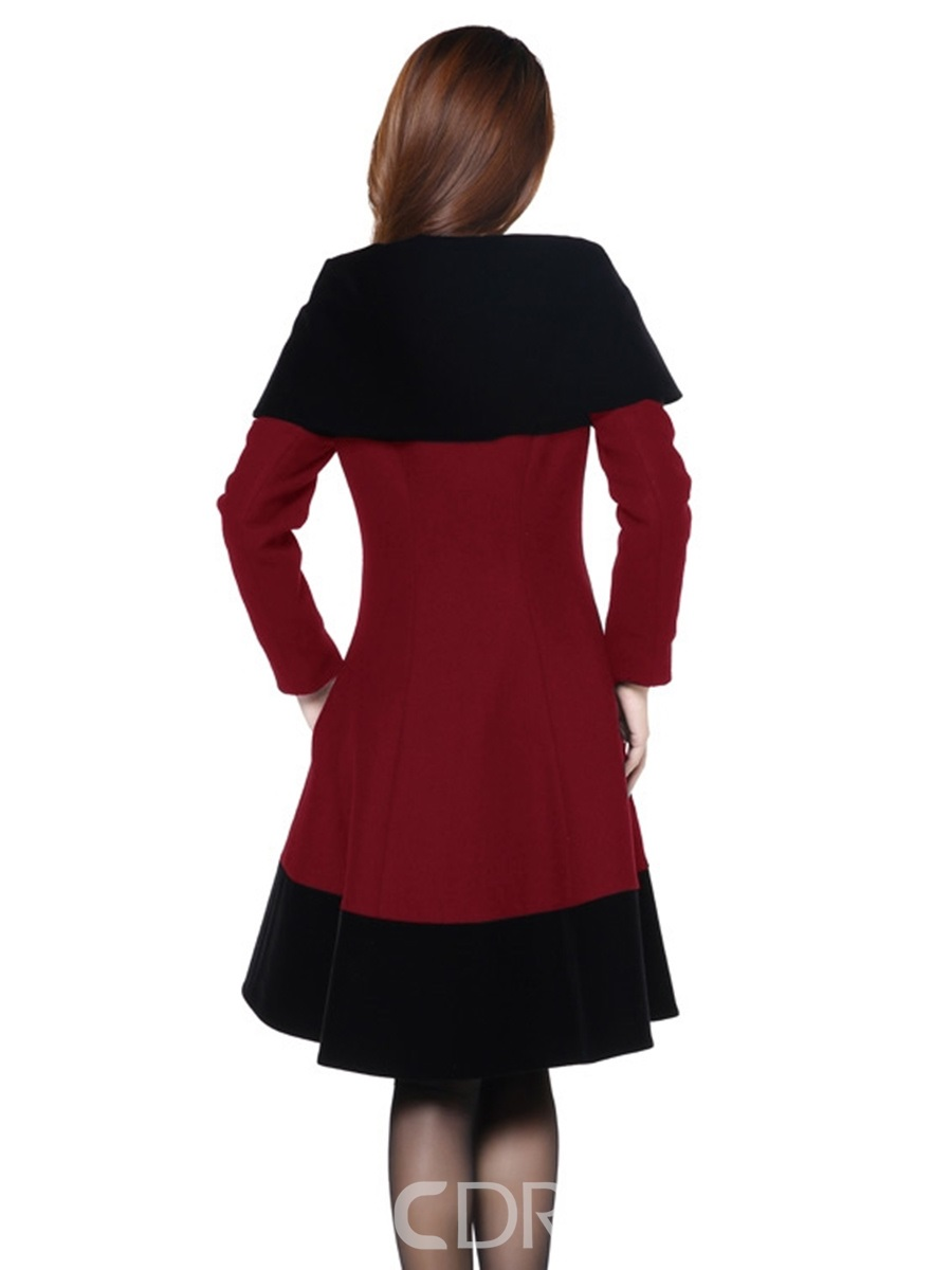 Ericdress Slim Color Block Asymmetric Lady Coat