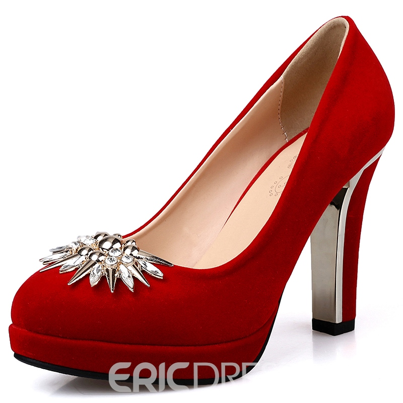 Ericdress Charming Suede Rhinestone Pumps