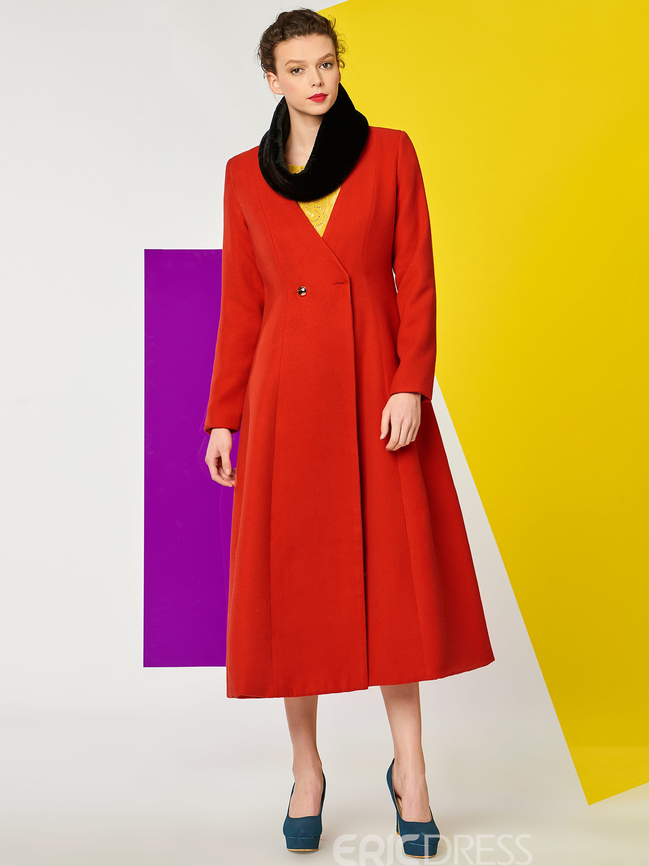 Ericdress Color Block Slim Wave Cut Coat