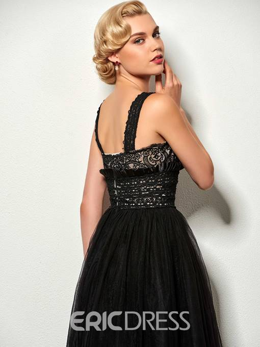 Ericdress Chic A line Straps Floor Length Lace Evening Party Dress