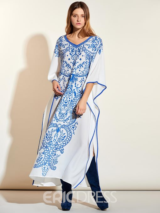 Ericdress Celadon Pattern Hemming Ruffle Sleeve Maxi Dress